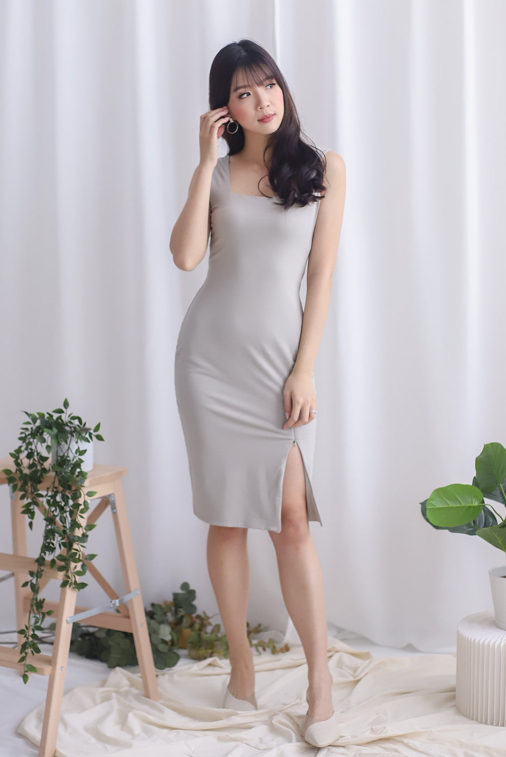 Lilura Zip Slit Dress In Taupe