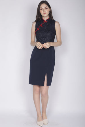 Linsay Crochet Cheongsam Dress In Navy Blue