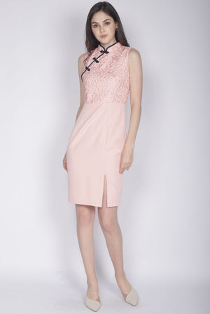 Linsay Crochet Cheongsam Dress In Pink
