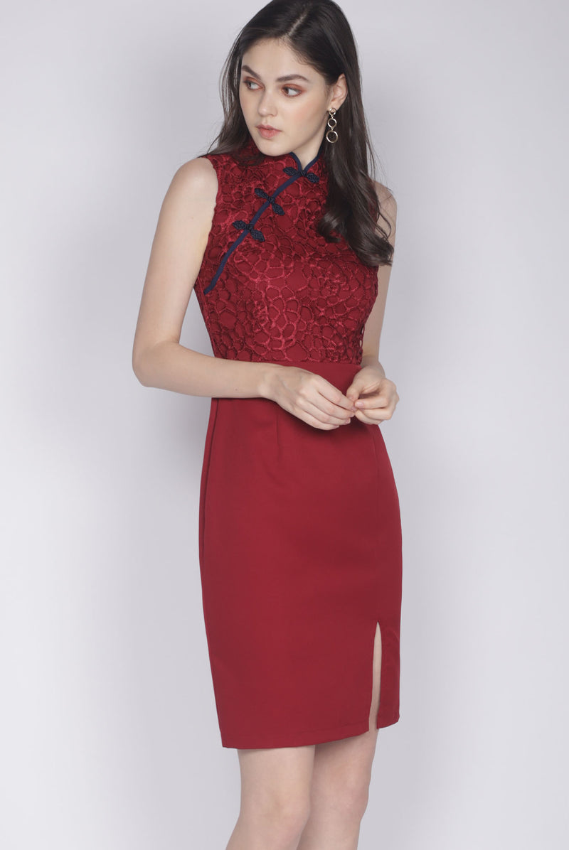 Linsay Crochet Cheongsam Dress In Wine Red