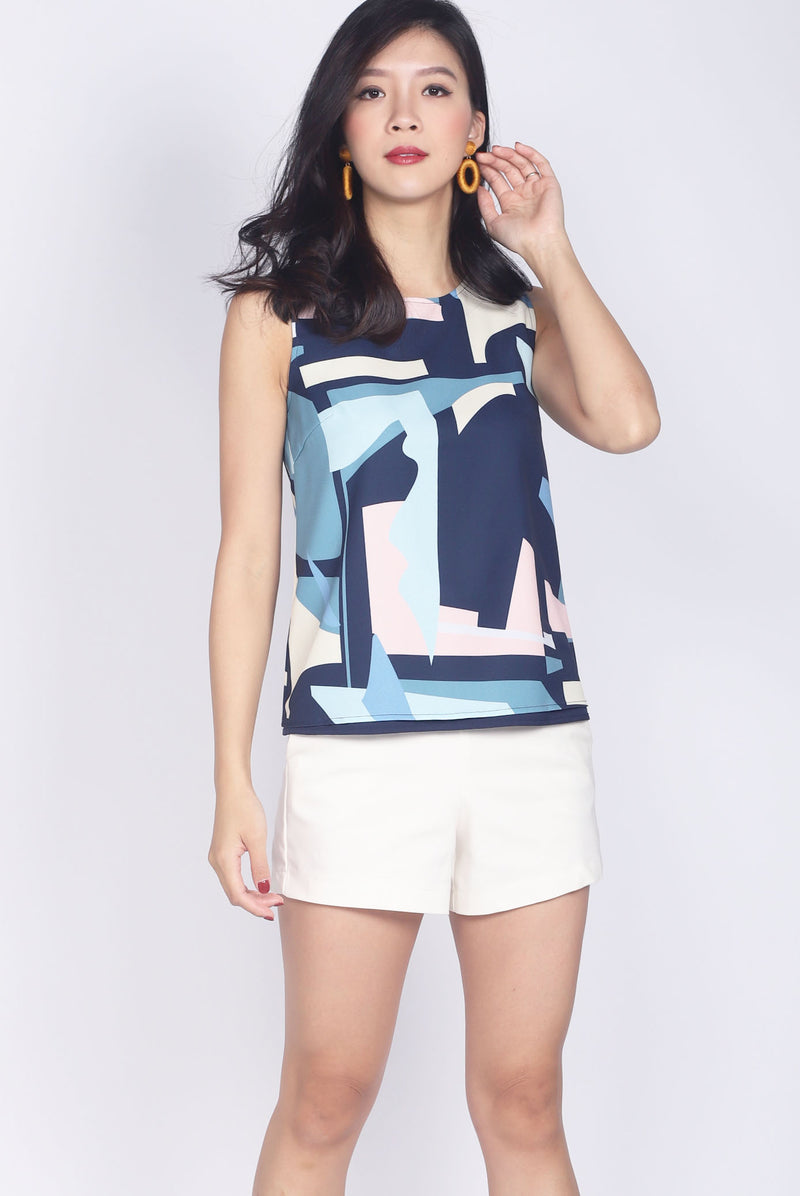 Londyn Abstract Tank Top In Navy Blue