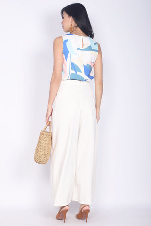 Londyn Abstract Tank Top In White