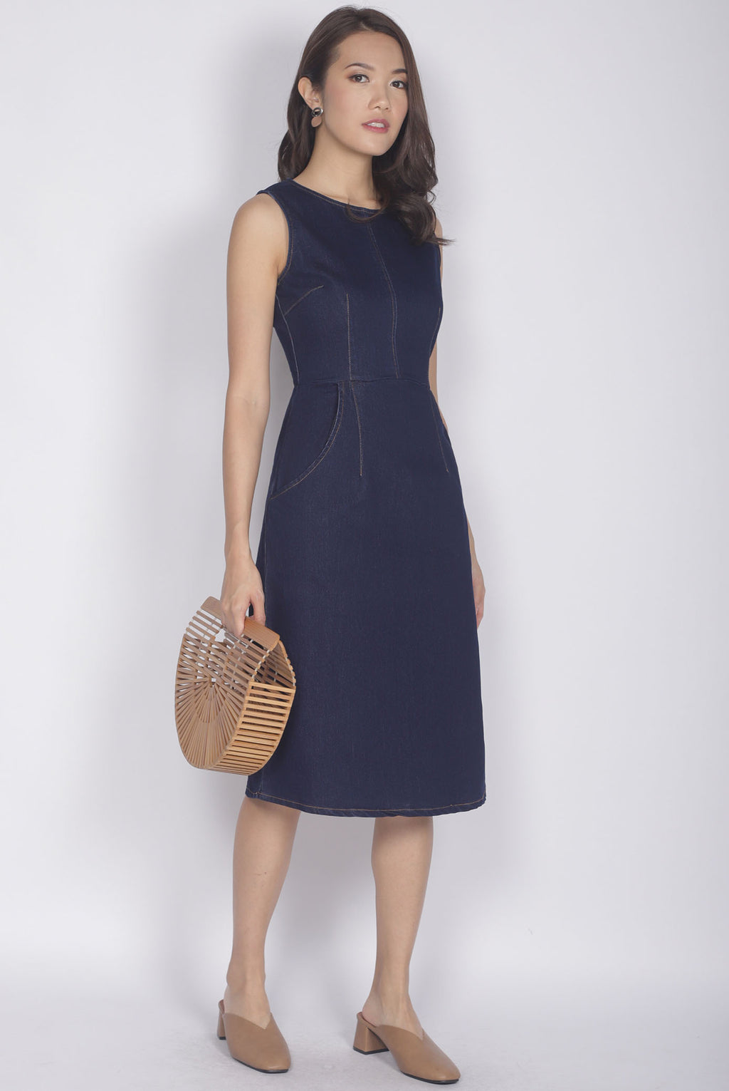 Lottie Denim Dress In Dark Wash
