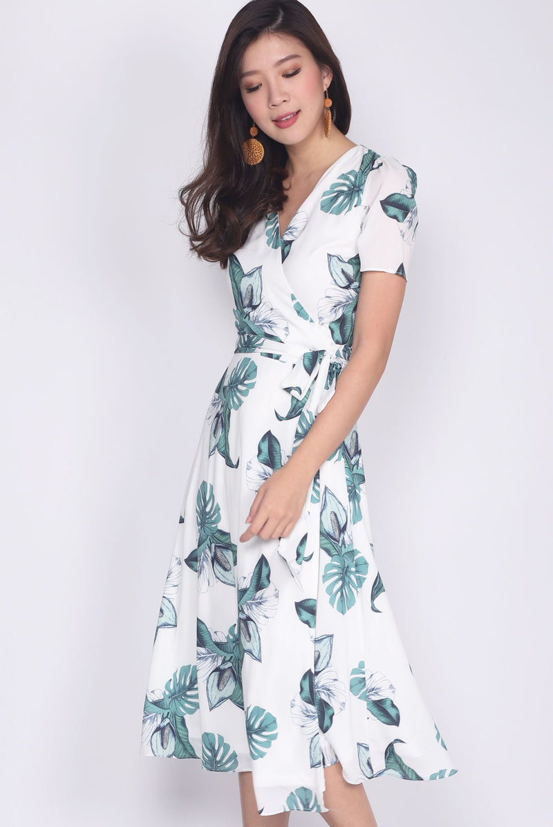 Lowenna Leaf Wrap Dress In White