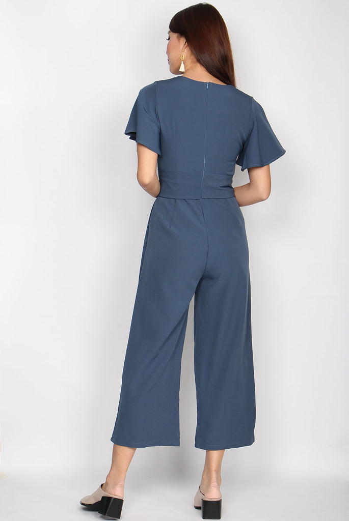 Lucille Kimono Sleeve Jumpsuit In Blue