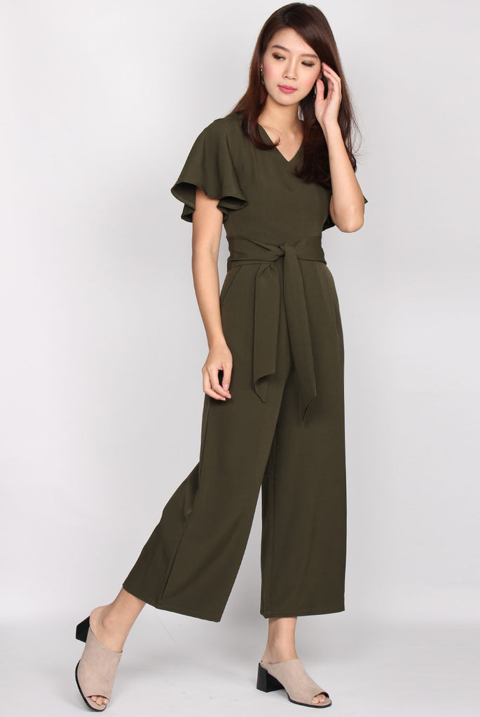 Lucille Kimono Sleeve Jumpsuit In Olive