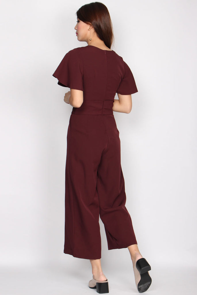 Lucille Kimono Sleeve Jumpsuit In Wine Red