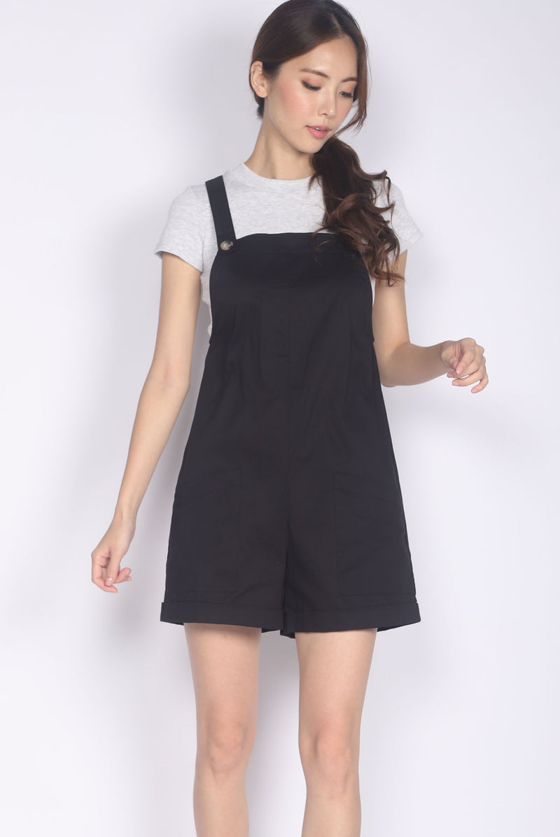 *Restocked* Luisa Pinafore Romper In Black