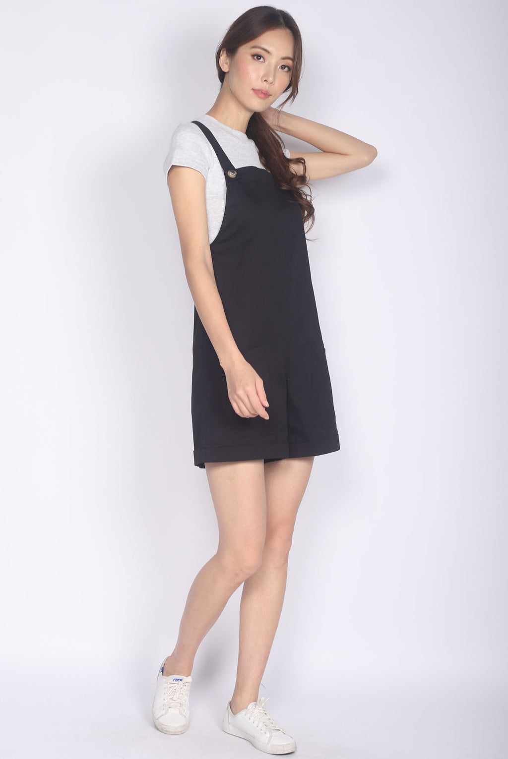 *Backorder* Luisa Pinafore Romper In Black