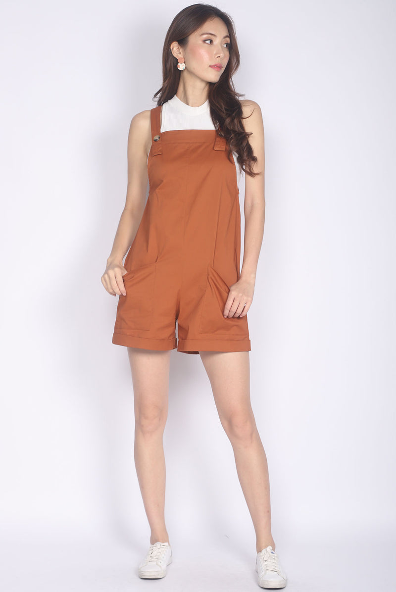 Luisa Pinafore Romper In Camel