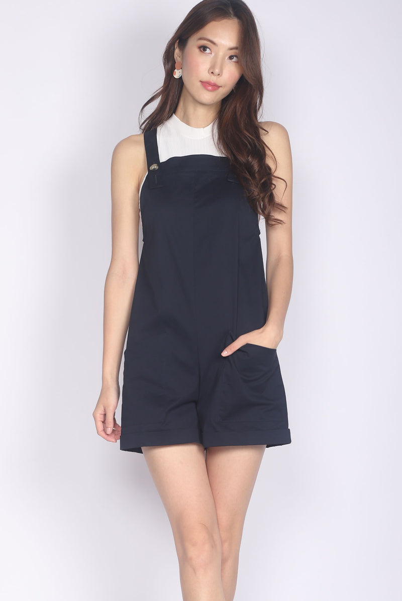 *Restocked* Luisa Pinafore Romper In Navy Blue