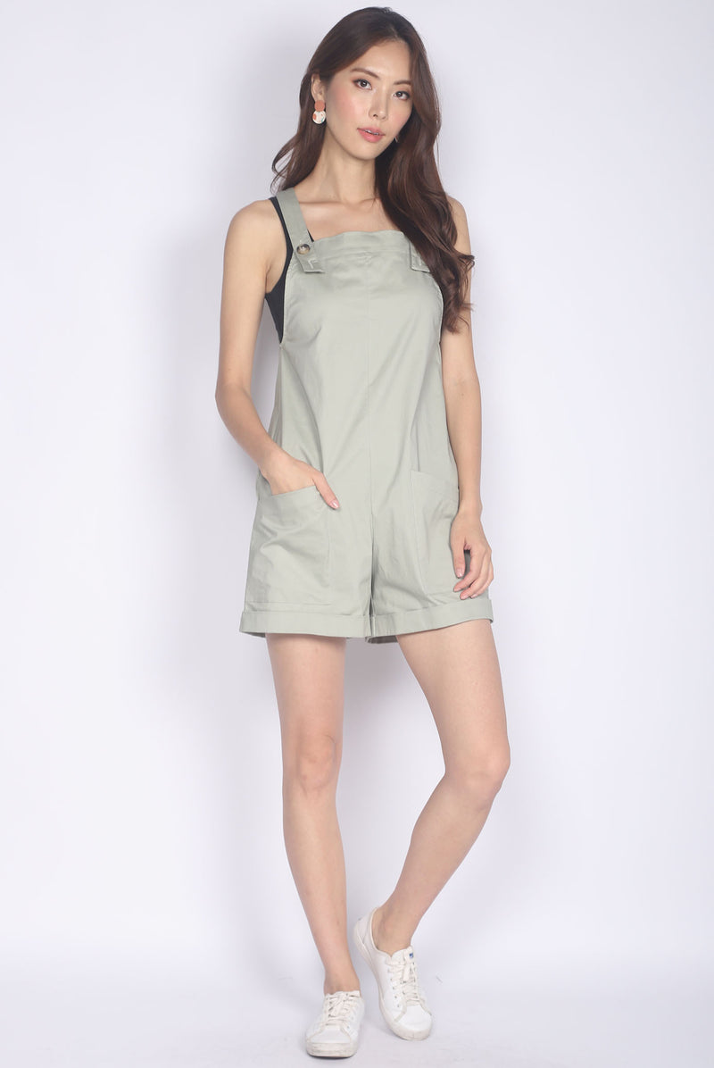 Luisa Pinafore Romper In Sage