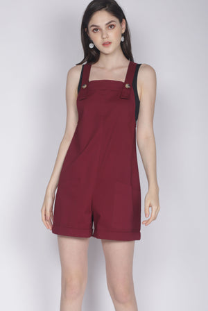 Luisa Pinafore Romper In Wine Red