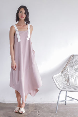 Lunette Buckle Strap Asymm Dress In Blush