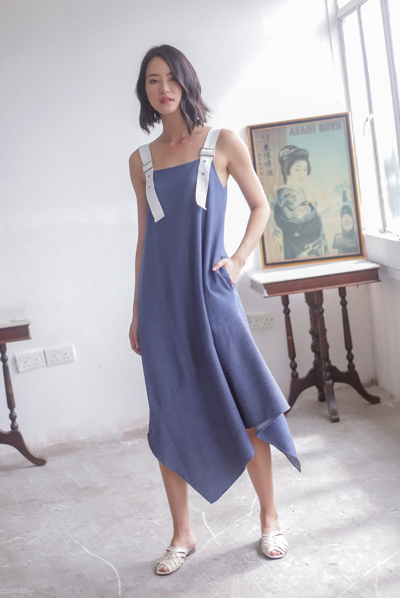 Lunette Buckle Strap Asymm Dress In Dark Blue