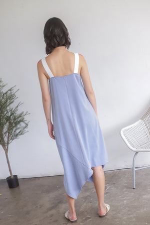 Lunette Buckle Strap Asymm Dress In Light Blue