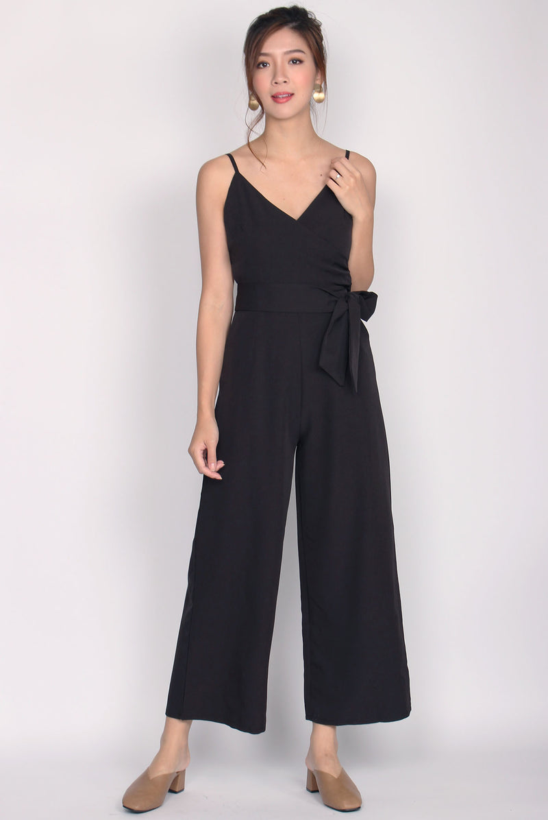 Luxia Wrap Sash Jumpsuit In Black