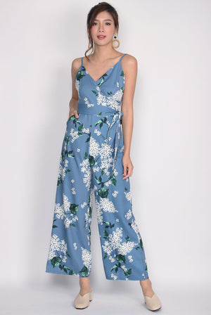 Luxia Wrap Sash Jumpsuit In Blue Floral