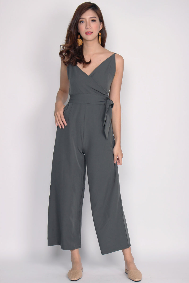 Luxia Wrap Sash Jumpsuit In Olive