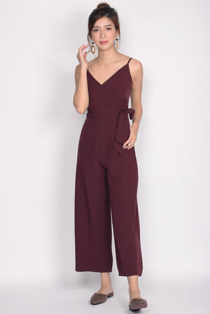 Luxia Wrap Sash Jumpsuit In Wine Red