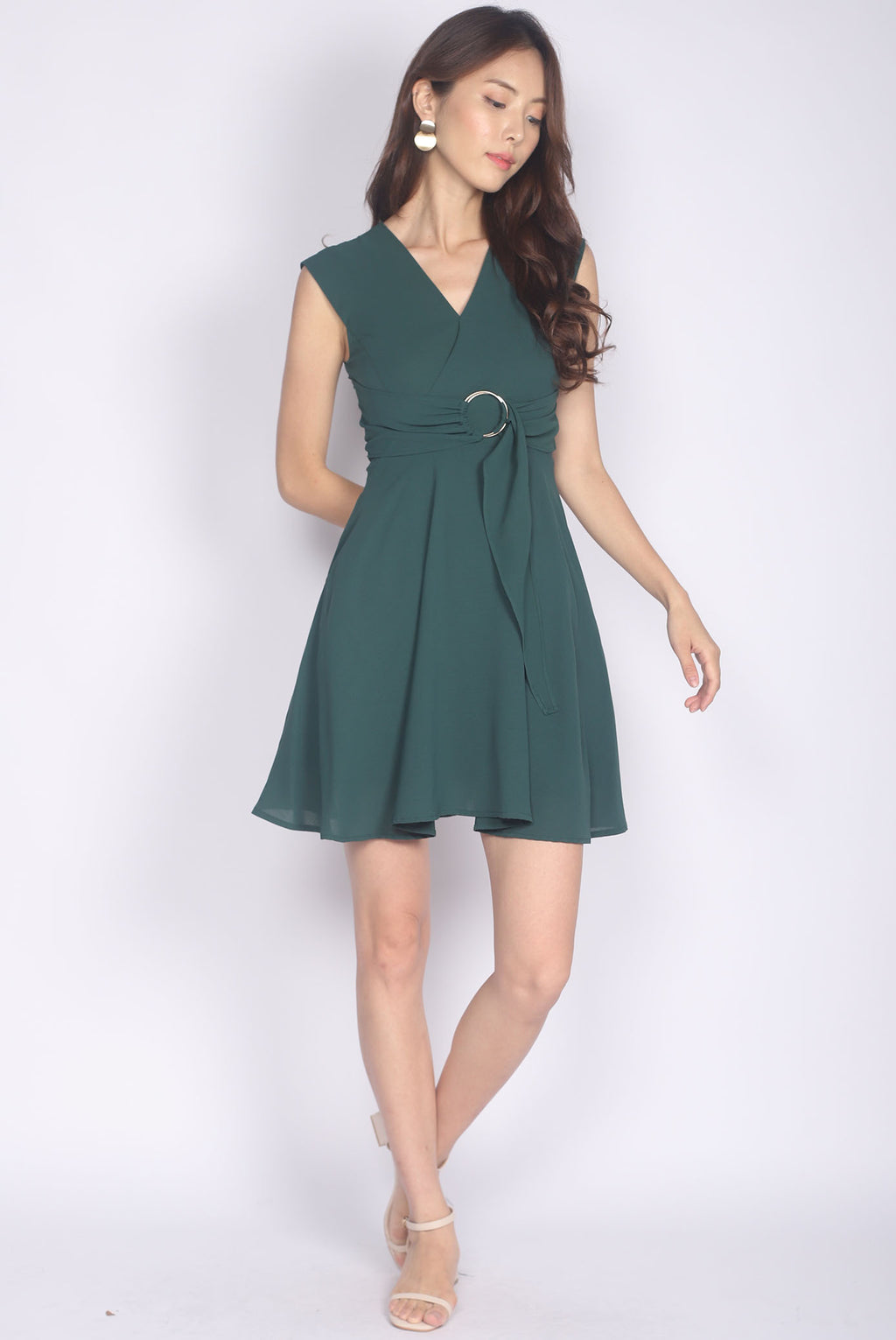 Luza Ring Waist Dress In Forest Green