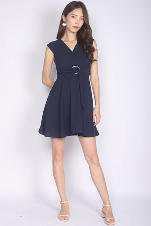 Luza Ring Waist Dress In Navy Blue