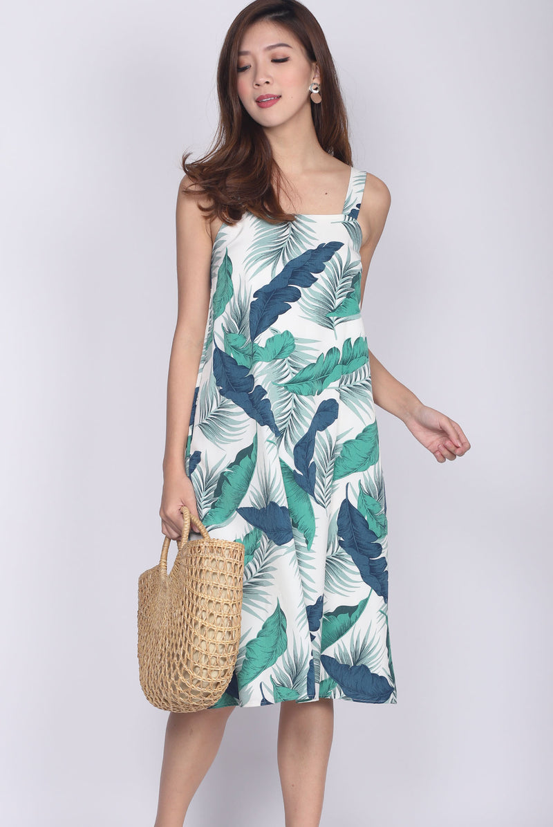Madeira Square Neckline Trapeze Dress In Tropical Leafy