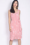 Madigan Scribble Buttons Shift Dress In Pink