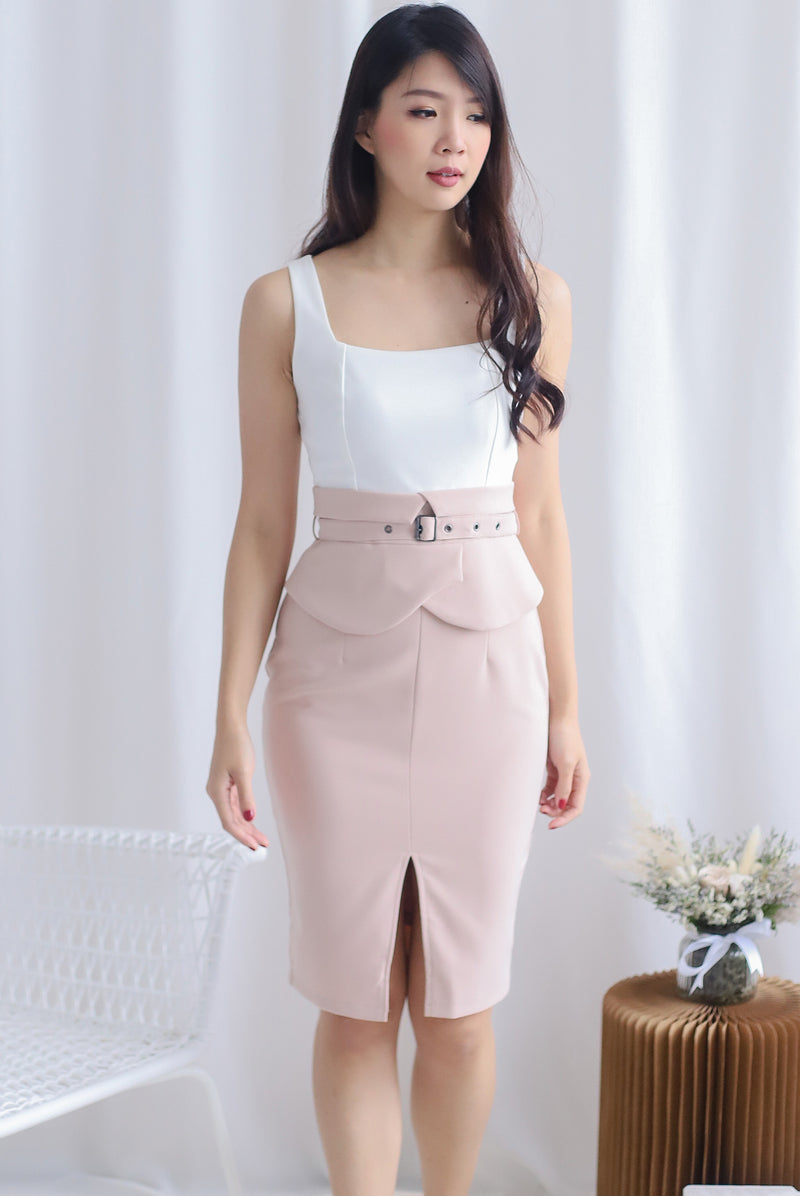 *Premium* Maelle Peplum Belted Work Dress In White/Nude