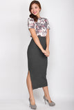 Maeve Knitted Slit Cut Skirt In Grey