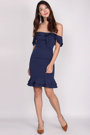Magdolna Off Shoulder Ruffle Mermaid Dress In Navy Blue