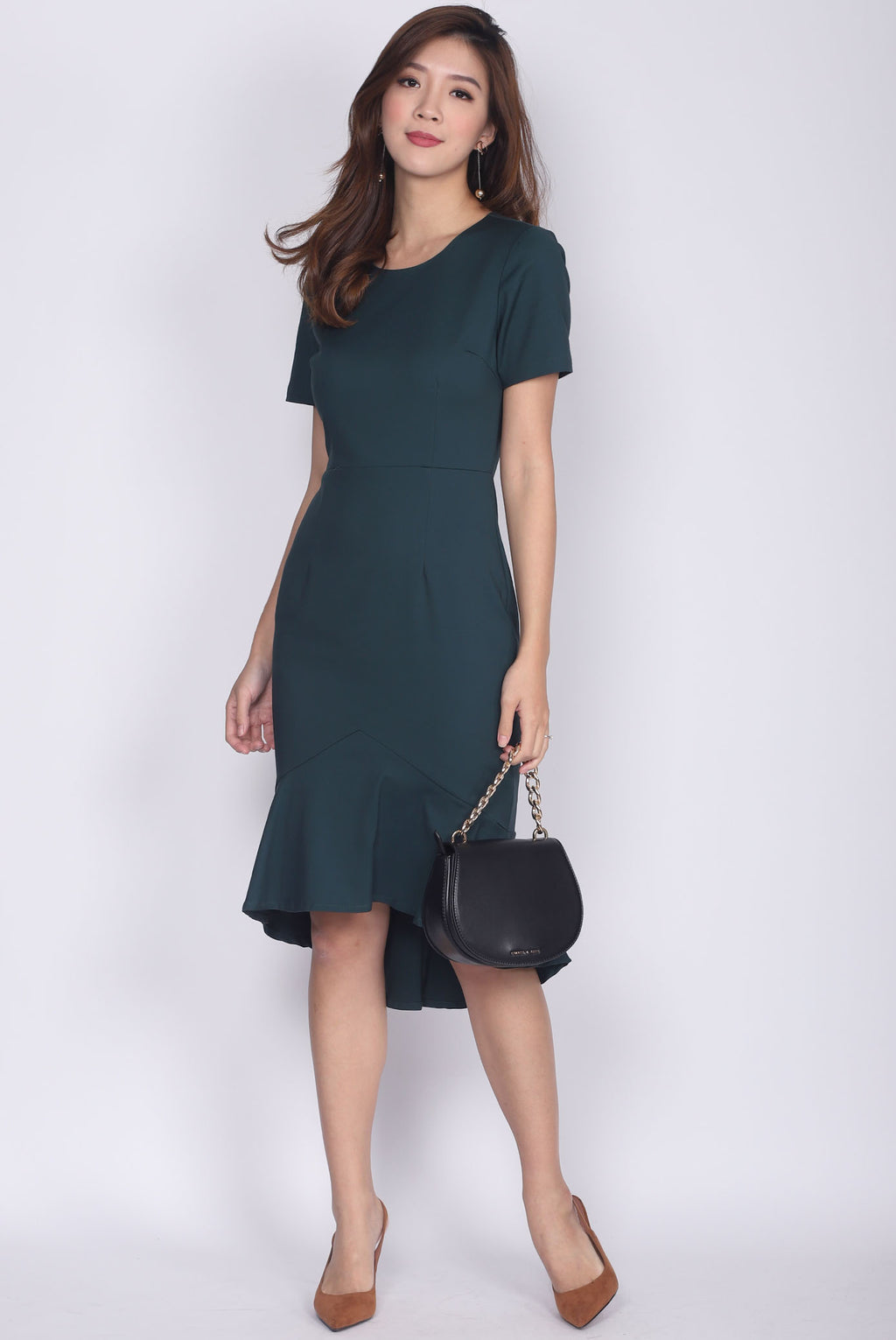 Magnild Sleeved Fishtail Dress In Forest Green