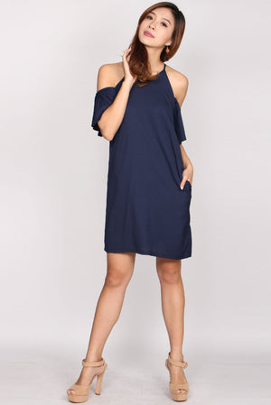 Maiden Pleated Cold Shoulder Dress In Navy Blue