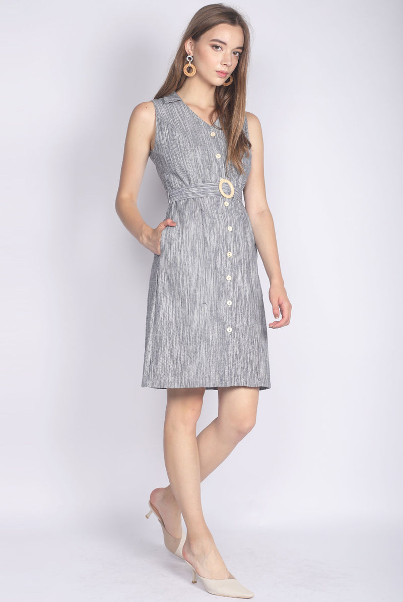 Maison Wooden Ring Tweed Shirt Dress