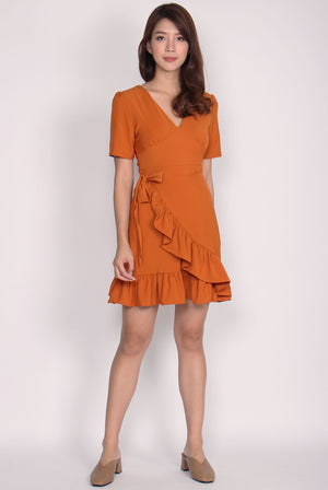 Makailyn V Neck Ruffle Wrap Dress In Pumpkin