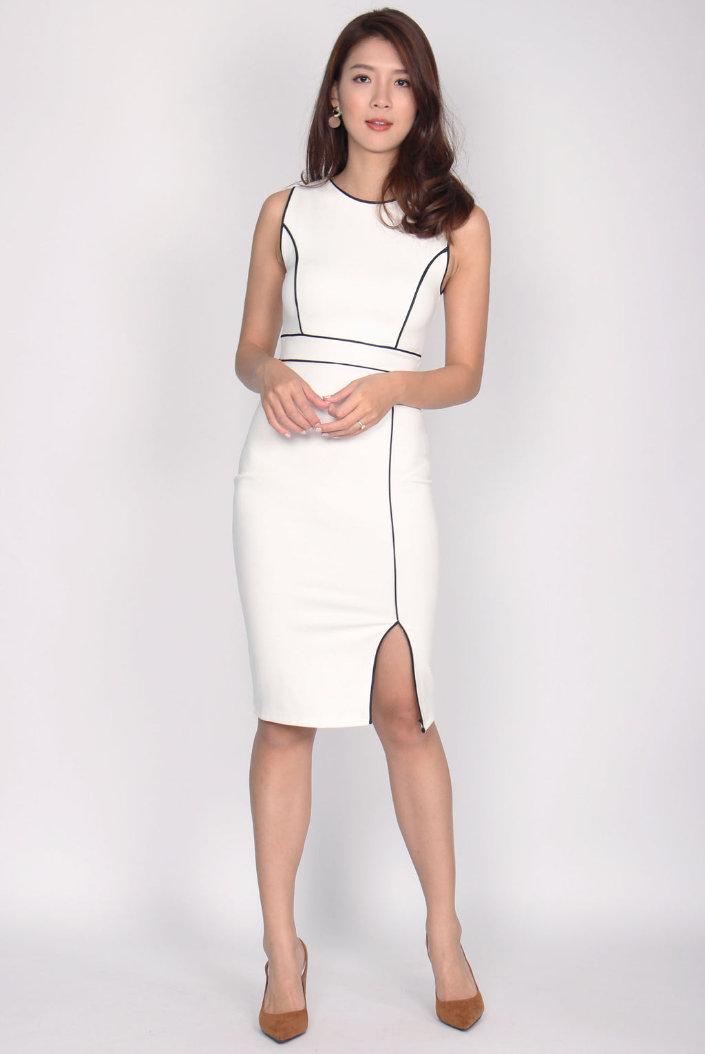 *Restock* Malika Pencil Midi Dress In White
