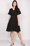 Mallory Tier Sleeve Flare Dress In Black