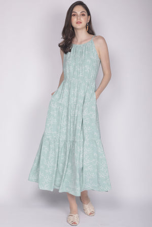 Malvern Printed Tiered Maxi Dress In Green