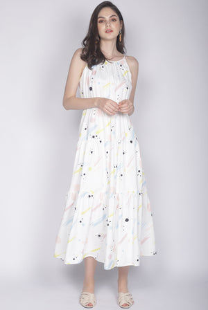 Malvern Printed Tiered Maxi Dress In White
