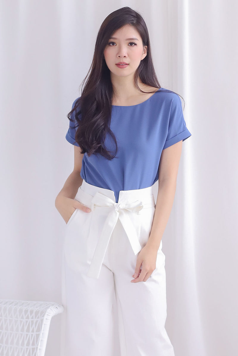 Mamie Basic Box Top In Steel Blue