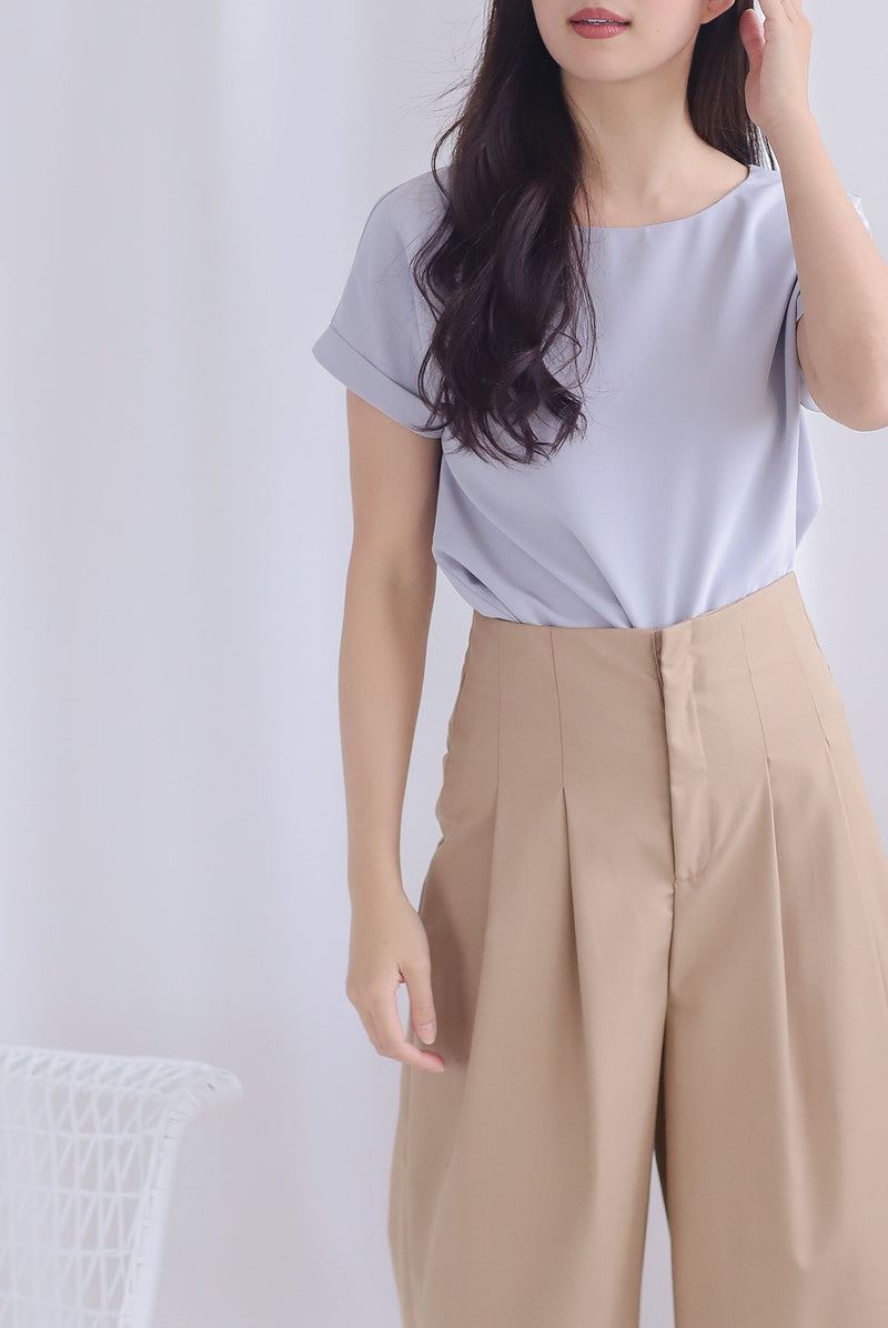 Mamie Basic Box Top In Grey