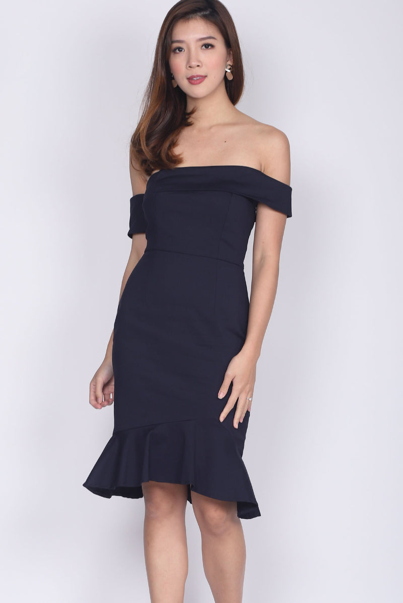 Manuelle Toga Mermaid Socialite Dress In Midnight Blue