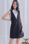 Manya V Pinafore Dress In Black