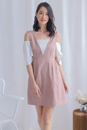 Manya V Pinafore Dress In Blush