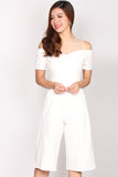 Marceline Mesh Off Shoulder Jumpsuit In White