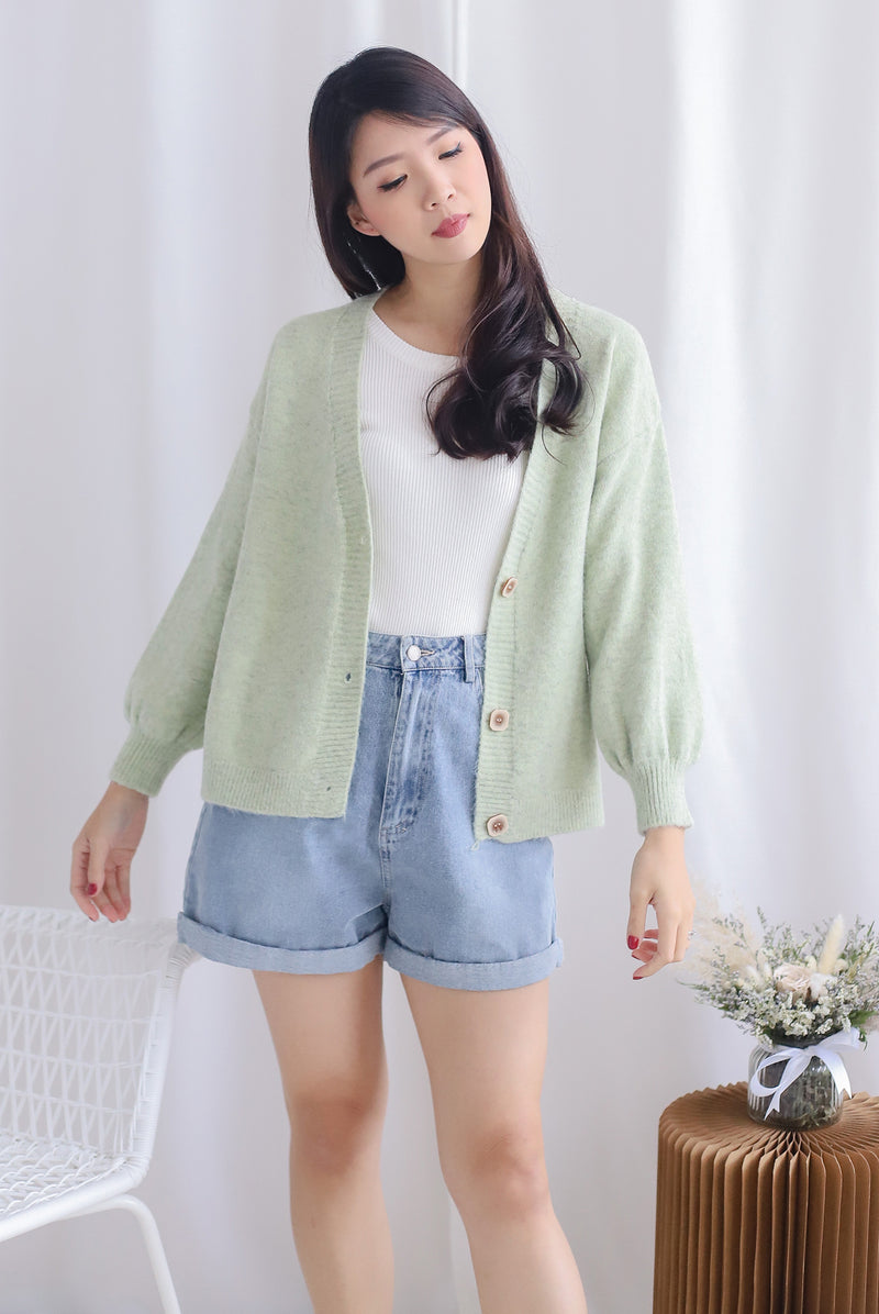 Margie Square Buttons Cardigan In Apple Green