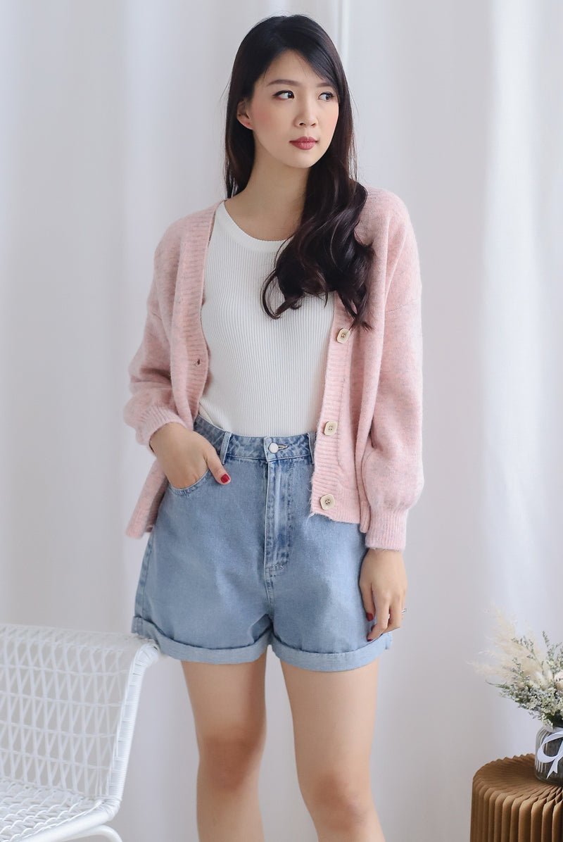 Margie Square Buttons Cardigan In Blush