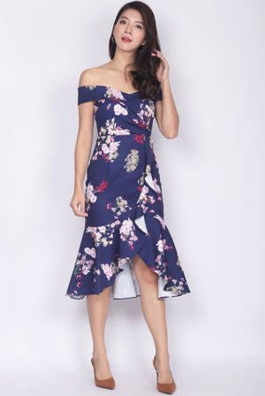 Mariabella Off Shoulder Mermaid Dress In Navy Floral