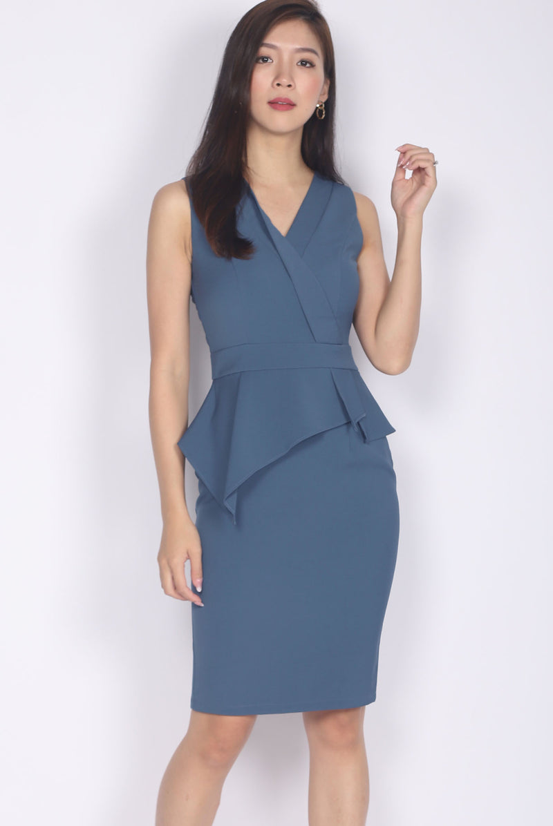 *Premium* Marifel Vest Peplum Dress In Blue