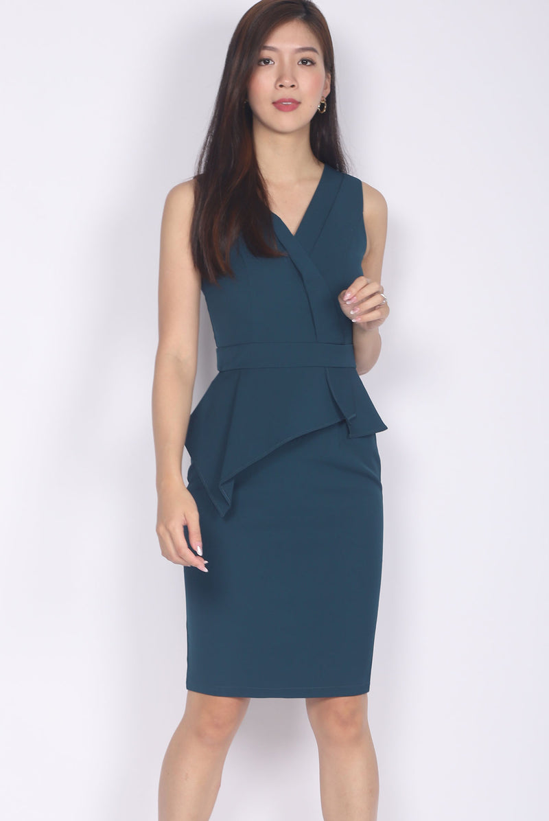 *Premium* Marifel Vest Peplum Dress In Forest Green
